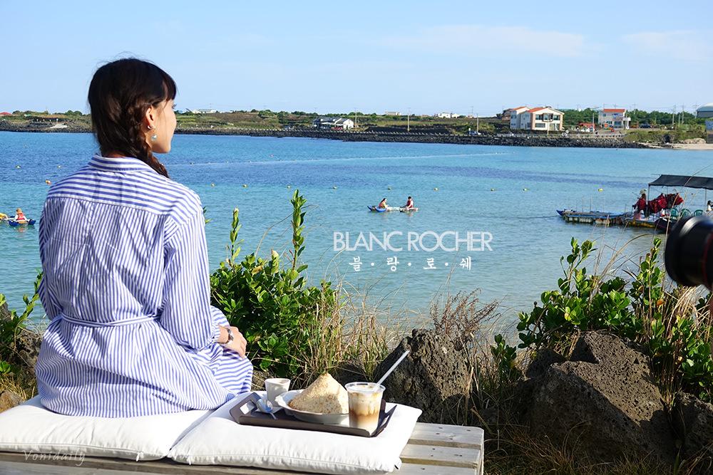 濟州美食   牛島的希臘海洋風絕美咖啡廳 BLANC ROCHER 블랑로쉐,與大海相望的美麗時光